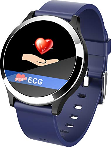 HKPLDE Bluetooth Smartwatch/Farbbildschirm Fitness Armband Schrittzähler Kalorienzähler Sportuhr Blutdruckmessung für Frauen und Männer für iOS Android-Blau (Watch Clip Auf Gurt)