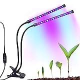 iBazal LED Pflanzenleuchte 18W Pflanzenlampe Pflanzenlicht Zimmerpflanzen Wachstumslampe, Doppelkopf Grow Lampe Klemmleuchten 36 LEDs, 3/9/12H Timer für Home Hydroponischen Garten Gewächshaus