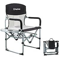 KingCamp Campingstuhl mit Seitentisch und Atmungsaktiver Netzstoffrückenlehne