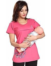 Soulemo Womens Premium Feeding Tops Feeding T-Shirts TEE. (only. top) Maternity Dress Feeding Nighty. Bust Size M-37, L-38, XL-40, XXL-42, XXXL-44 inches 637