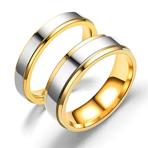 Aeici Edelstahlring Partnerring Paar Polierter Silbergoldring 6MM 4MM Siegelring Edelstahl Frauen 70 (22.3) + Männer 54 (17.2) Ring Silber Gold (Männer Stein Gold Blau 14k Für Ring)