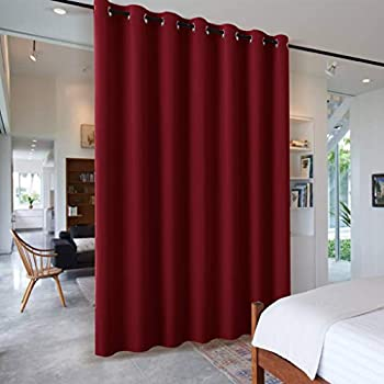 PONY DANCE Room Divider Curtain - Christmas Home Decor Light Block Noise Reduce Curtain Blind Heavy-duty Partition Privacy Panel for Large Share Space, Red, 1 Piece, 100-inch W by 108-inch L