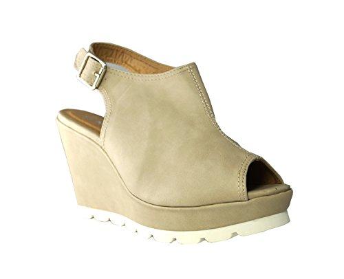Peep Sandaletten Slingbacks Schuhe Keilpumps Keilabsatz Ok Pumps Beige Damen High Heels Toes O0UqABx5