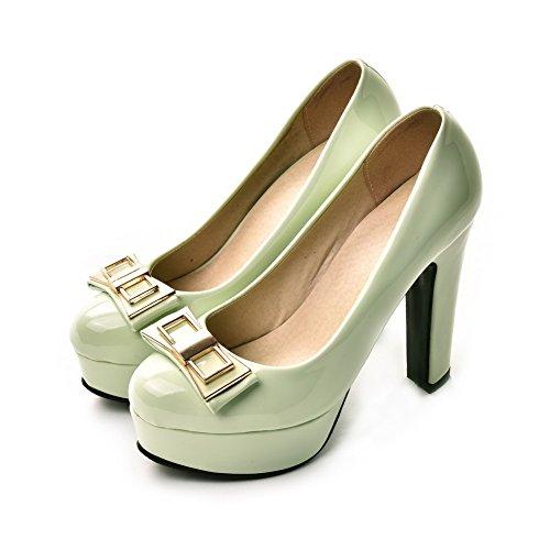 AllhqFashion Damen Blend-Materialien Ziehen Auf Rund Zehe Hoher Absatz Rein Pumps Schuhe Aquamarin