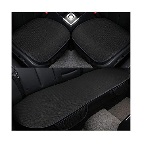 Hotyou cuscino del sedile per auto coprisedile comfort traspirante in lino universale per la protezione del sedile anteriore automatico, nero, front seat&back seat set* 3 pics
