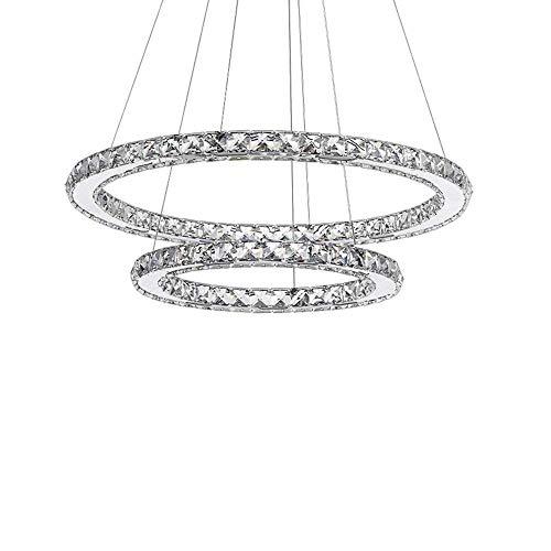 63W LED Kristall Design Hängelampe Zwei Ringe(Φ: 40cm+60cm) Deckenlampe Pendelleuchte Kreative Kronleuchter Wohnzimmer Esszimmer Lüster, Warmes Licht 3000K
