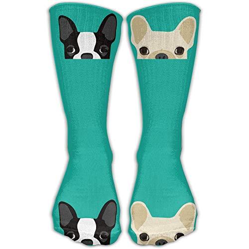 Personalized Boston Terrier French Bulldog Unisex Short Socks Casual Athletic Outdoor Socks Novelty Socks 30cm (Open Toe Thigh High Socks)