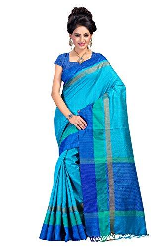 Fabattic Women's Tassar Silk Saree With Blouse Piece (Chi16564L_Sky Blue)