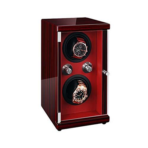 zyy Automatisch Doppelt Uhrenbeweger, 5 Mute-Rotations Modi, Individuell Gesteuert Drehung, 2 Wickler Positionen, Rechteck Uhrenbox Aufbewahrungsbox (Color : Black) -