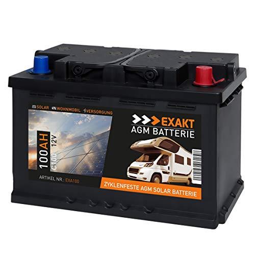 EXAKT AGM Solar Batterie Photovoltaik Wohnmobil Boot Camping Versorgungsbatterie (100AH 12V)