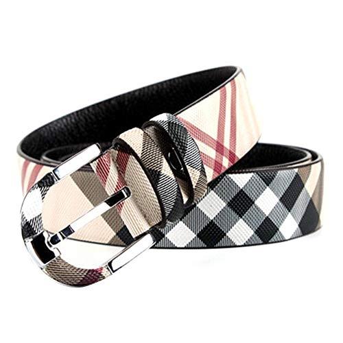 ASEVEN Plaid Belt For Men / Ladies Korean Fashion Letter Double G Plaid Belt, Claw Buckle Strap Retro Genuine Cowhide First Layer 106 Cm ~ 127 Cm, Coffee / Beige