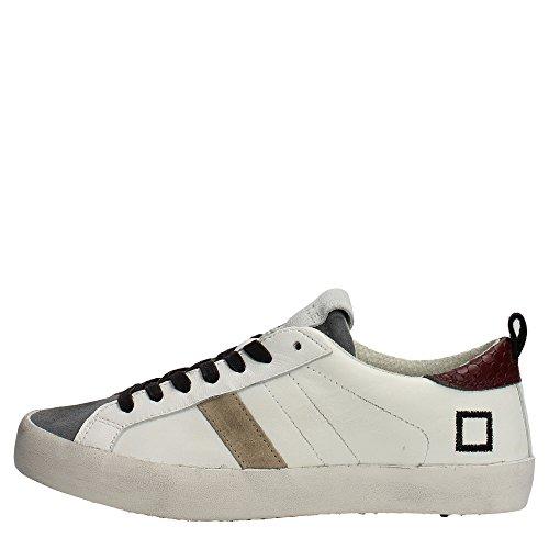 D.A.T.E. scarpa uomo Hill Low nappa why/gry sneaker bianco grigio lacci pelle (42 eu)