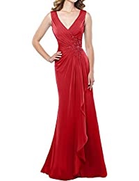 Sunvary Elegant V-Neck Chiffon Traeger Allikation Neu Abendkleider Lang Mutterkleider Partykleider