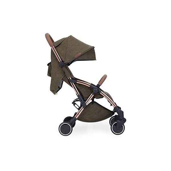 Ickle Bubba Globe Prime Baby Stroller | Lightweight and Portable Stroller Pushchair | Folds Slim for Ultra Compact Storage | UPF 50+ Extendable Hood and Baby Carriage Accessories | Khaki/Rose Gold Ickle Bubba ONE-HANDED 3 POSITION SEAT RECLINE: Luxury baby stroller suitable from birth to 15kg-approx. 3 years old; features luxury soft quilted seat liner, footmuff, cupholder, buggy organiser, storage bag and rain cover UPF 50+ RATED ADJUSTABLE HOOD: Includes a peekaboo window to keep an eye on the little one; extendable hood-UPF rated-to protect against the sun's harmful rays and inclement weather ULTRA COMPACT AND LIGHTWEIGHT: Easy to transport, aluminum frame is lightweight and portable-weighs only 6.4kg; folds compact for storage in small places-fits in aeroplane overhead; carry strap and leather shoulder pad included 13