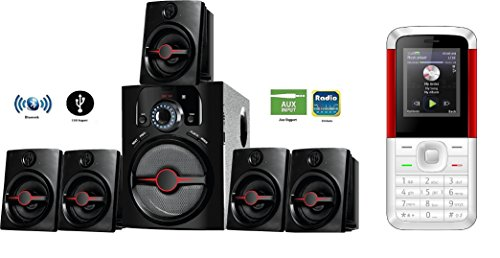 IKALL Bluetooth IK-444 Home Theater System 5.1 Channel with I KALL K5310 1.8 inch Basic Mobile Phone (White/Red)