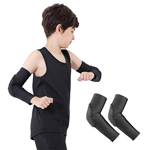Luwint Children Volleyball Arm Pads - Boys & Girls Compression Armour Protective Elbow Guard for Football Basketball Baseball Bowling Tennis Hockey Sports, 1 Pair (Medium) -