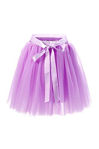 (Babyonline® Damen Prinzessin Falten Rock Vintage Kleid Spitzen Rock Midirock Ballettrock Tüllrock Unterrock Knielang, Lavendel, One Size / Einheitsgröße)