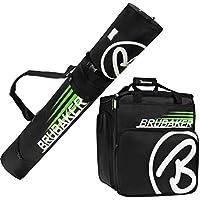 Brubaker Conjunto \'Super Champion\' Bolsa para Botas y Casco de ski Junto a \'Carver Champion\' Bolsa para un par de Ski - Negro/Verde - 170 cms.