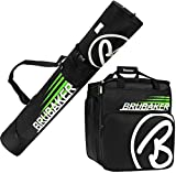 BRUBAKER Conjunto 'Super Champion' Bolsa para botas y Casco de ski junto a 'Carver Champion' Bolsa para un par de Ski - Negro / Verde - 170 cms.