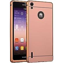 Huawei P7 Funda de movil - TOOGOO(R)Aluminio Metal Tope Cubierta PC Funda trasera para HUAWEI P7 Oro rosa