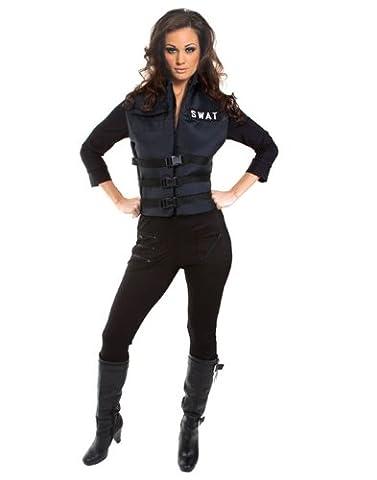 Underwraps Carnival 199778 Lady SWAT Adult Costume - Black - (Swat Team Abbigliamento)