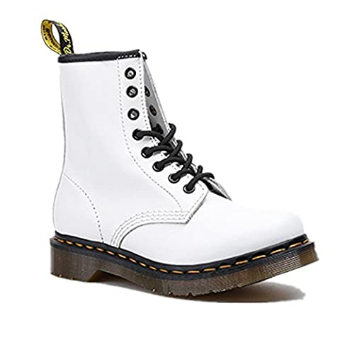 Hommes Femmes Bottes courtes Chaussures de couple Flat New Fashion Martin Locomotive Boots Lace Up Cuir véritable Antidérapage antidérapant White Spring Automne hiver , White , EUR 43/ UK