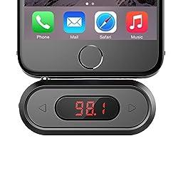 Doosl Transmetteur FM    Spécifications  Champ efficace : environ 15ft  Champ de la fréquence : 88.1-107.9MHz  Energie alimentation : 300mAh Li-batterie charge intérieure via Micro USB câble  Temps de l'opération : jusqu'à 10heures (batterie intégré...