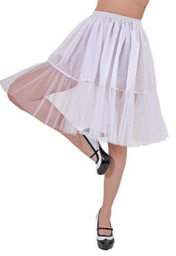 Das Kostümland - Petticoat Tüll Unterrock für Damen zum Fifties Rock´n Roll Kostüm - Weiß (50's Und 60's Rock And Roll Kostüm)