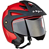 Vega Crux Open Face Helmet (Red, Medium)