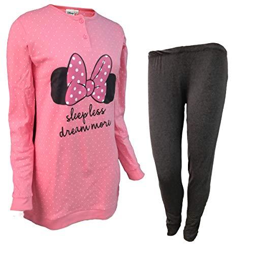 Disney pigiama donna maxi blusa con leggings in caldo cotone minnie art. wd20610 (42/s, rosa)