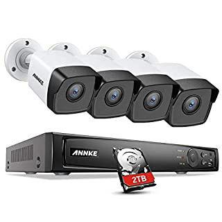 ANNKE 5MP PoE Video Security Camera System H.265+ 8MP CCTV NVR and 4X Outdoor 5MP Surveillance IP Cameras with 2TB HDD Support 100ft Night Vision, IP67 Weatherproof, Motion Detection