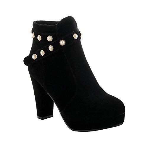 stiefel Reißverschluss Mee Hohen Modern Absätzen Nubuk Shoes Damen Schwarz Runder Innen Elegant Ankle Mit Perle Plateau dekoration Toe OnnSZCr