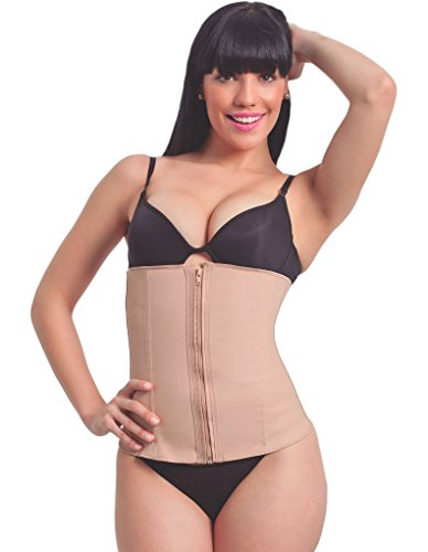 Esbelt Slimming Corset with Zip for Women from Latex with Cotton Lining - Extra Firm Support for Waist & Tummy - Posture Control Nude