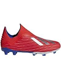 adidas X 18+ FG Niño, Bota de fútbol, Active Red-Silver Metallic