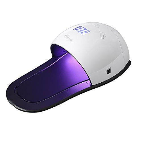 Ovonni Sèche Ongles Vernis Lampe LED UV Double Source 48W Electrique Portable pour Nail Art, UV & LED 2 en 1 pour Tous Types de Gels UV et LED- Blanc (blanc1)