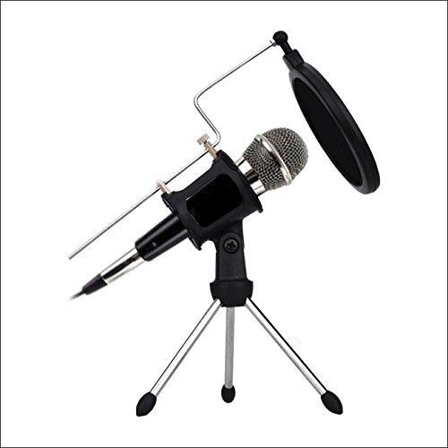 Desktop Mikrofone, PC und Hand Mikrofon (perfekt für Sprach- und Gesangsaufnahmen, und Dual-Layer-Akustikfilter für Recording, Podcasting, Online Chatten wie Facebook, MSN, KTV,Home,Karaoke,Skype, mit Audiokabel (Schwarz)