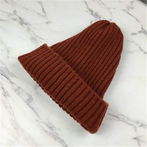 GUOSH Beanies Frauen solide gestrickte beiläufige warme koreanische Art Elegante Kursteilnehmer-Hüte schicke Frauen reizende Kappen Herbst-Winter-Art und Weise Rot 3