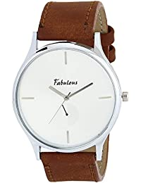ONKAR FABULOUS SHADOW-1204A A BEAUTIFUL WRIST WATCH FOR MEN AND WOMEN IN WHITE DIAL AND BROWN COLOR LEATHER STRAP...