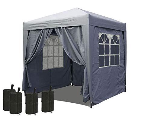 QUICK STAR Pop-Up-Pavillon 2 x 2 m Smoky Grau mit 4 Easy-Klett Seitenwänden und 4 Fußgewichten