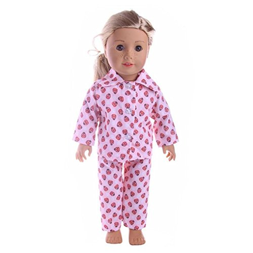 pajamas kids girls dolls clothes set dressing gown Jumpsuit Pajamas Nightgown Cute Design Clothes for 18 inch Our Generation American Doll Accessory Hirolan