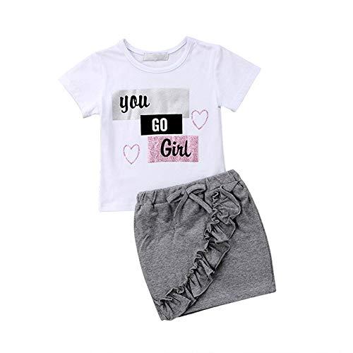 Miyanuby Baby Mädchen Kurzarm Weiß Tops Shirt + Grau Rüschen Rock Kleider 2 Stück Kleidung - 2 Stück Rüschen Kostüm
