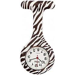 uWANTit Gel Silicone Zebra Funky Nurse Fob Watch Washable for Infection Control Paramedic Doctor Unisex