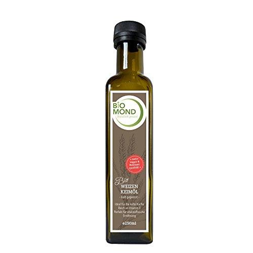 Bio Weizenkeimöl BIOMOND 250 ml / Gourmetöl / Hautöl / kalt gepresst / nativ / vegan / Rohkostqualität