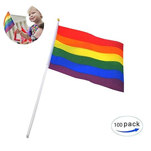 KOBWA 100Stück 20,3x 14cm LGBT Flagge, Klein Rainbow Flagge Lesbian Gay Pride Dekorationen Supplies Party Geschmack Pride Parade Zubehör (Parade-zubehör)