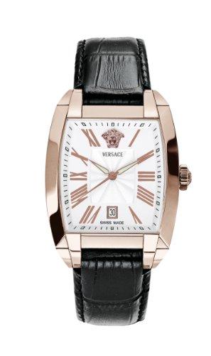 Versace WLQ80D498 S009 - Reloj analógico de cuarzo para hombre con correa de piel, color negro