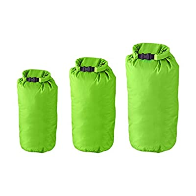 Milestone Camping Waterproof, Lightweight Dry Sacks (Pack of 3) for the Beach, Boating, Fishing, Kayaking, Swimming, Rafting Green by Milestone Camping