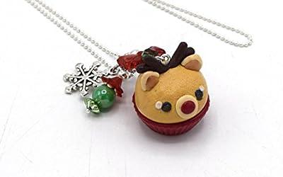 Pendentif Noël renne cupcake, pendentif cupcake