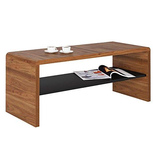 CARO-Möbel TV Lowboard Couchtisch Fernsehtisch Lenni, in Nussbaum, mit Ablagefach in schwarz, 100 x 40 x 40 cm -