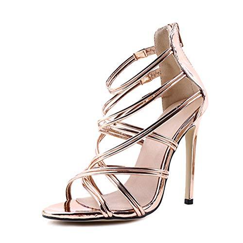 Minetom Damen Sandaletten High Heels Stiletto Reißverschluss Sexy Open Toe Hohl Kreuzgurt Sandalen Abend Party Braut Schuhe Gold 41 EU Elegante Gold Open Toe