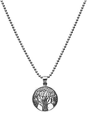 Sterling Silber Familie Anhänger Baum mit 2mm Kugel Halskette Länge 50cm im Vintage Look